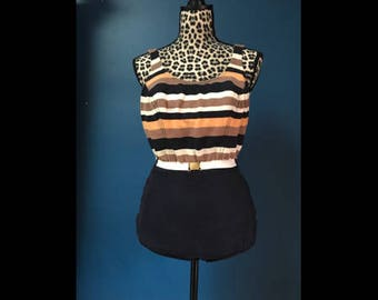 Early 60's Vintage pin up Catalina Swim Suit Part of the Art of Eve collection belted striped
