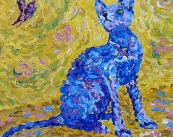 Blue cat on a yellow