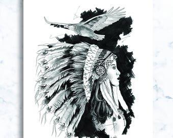Pencil & Ink illustration, girls series - 'Lavender'