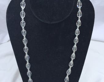 Crystal Clear tear drop Bead Necklace