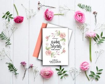 INSTANT DOWNLOAD- Invitations bridal shower floral- invitation foral-Floral Printable Bridal Shower-flowerinvitation-despedida de soltera