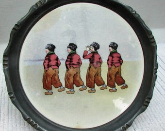 Old Russian Wall Plate in Pewter Frame - Four School Boys