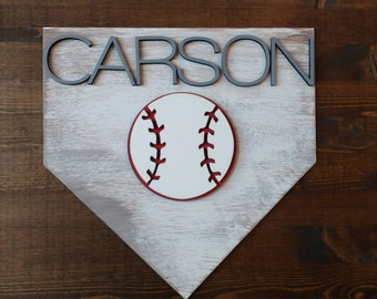 Custom wood baseball theme name sign boys room decor nursery man cave baseball home plate fan