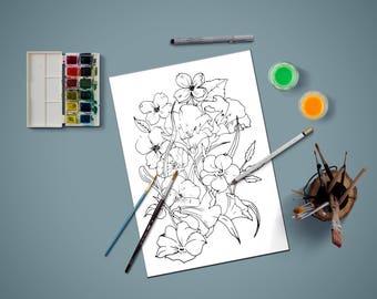 Malvorlagen für Erwachsene, Malvorlagen, Blumen Malvorlagen, Blumen, zum Selbermachen Kunst, Färbung, Printable Malvorlagen, sofort-Download