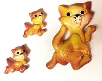 Vintage Trio of Orange Chalkware Cats