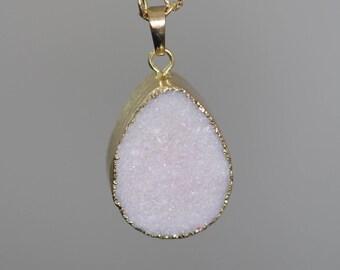 White Druzy, DAINTY DRUZY, Druzy Necklace, Personalised Jewellery, Bridesmaid Necklace, Personalised Gift, Mothers day, Boho Necklace