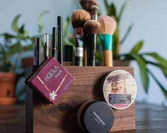 Wooden Makeup Organizer with Magnetic Display