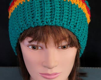 Crochet Hat Beanie Multi-color Teal Gold Red Acrylic Yarn  Woman's Small, Girls large, (E6}