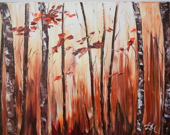 Original oil painting. 16'' x 20 '' Autumn.  Abstract trees. Oil on canvas. Wall decor.