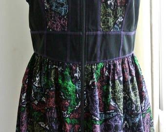 Vintage Summer Zip Up  Front Dress