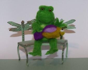 Needle Felted, Handmade, Froggie's Fish