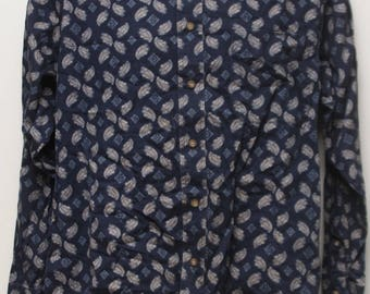 "90's Vintage ""NATURAL ISSUE"" Abstract Patterened Long-Sleeve Shirt Sz: MEDIUM (Men's Exclusive)"
