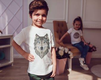 Geometric Art Kids Shirts Wolf Kids Tshirt Toddler Shirt Gift For Kids Children Fashion Kid Shirt Kid T-Shirt Boys Top Girl Top Kids Clothes
