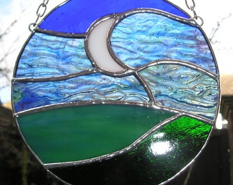 The Moon and Sky at Night, Stained Glass Suncatcher, Handmade in England