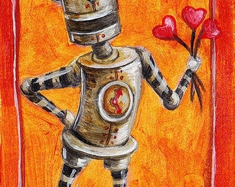 ACEO Print - Vintage Robot with Heart Flowers, Valentine's Day Robot, Artist Sketch Card Lovebot by SLScheibe
