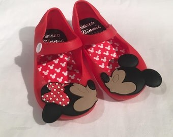 FAUX RED Minnie Mickey kissing Mini Sandals Toddler Shoes Remake