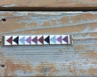 Purple Triangle Seed Bead Bracelet