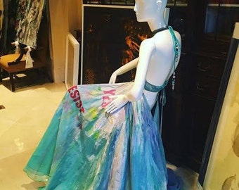 Rich Girl on Vacation Hand Painted Long Dress Mix Collors,One of a kind.
