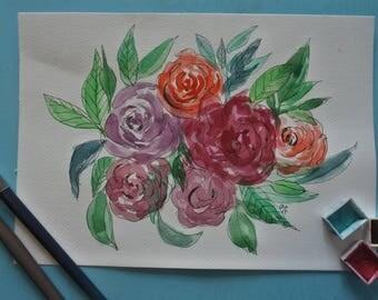Superbe aquarelle florale