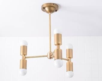 Minimal Chandelier - Modern Ceiling Lighting - Brass Ceiling Fixture - Mid Century Light