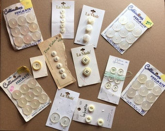 BUNCHES of white BUTTONS:  12 vintage button cards