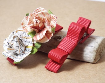 Red Baby Hair Clips, Infant Hair Bows, Toddler Hair Clips, Girls Hair Clips, Small Hair Bows, Clip Set, Flower Clips, Tuxedo Bows, Red