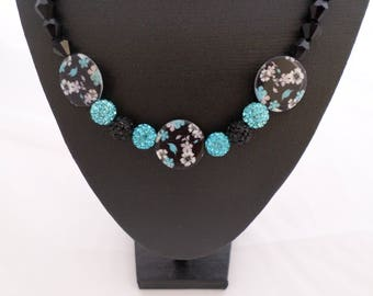 Necklace 'Luxurious Blue', floral black and turquoise beads