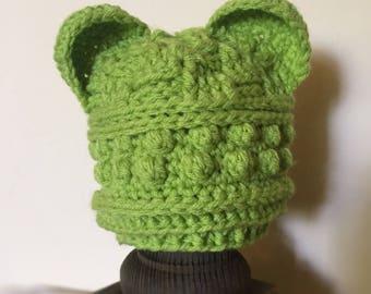 Green Bear Baby Hat