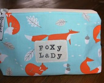 Foxy Lady Handmade / bespoke  Fox slogan Large Makeup bag / Cosmetics bag