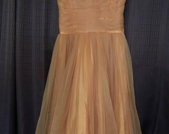 1950's Apricot Chiffon Party Dress