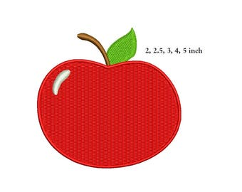 Apple Embroidery Design - 5 design sizes machine embroidery INSTANT DOWNLOAD