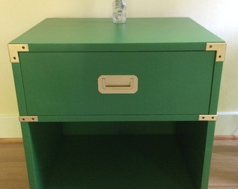 Mid Century Campaign Nightstand Table