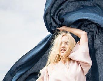 Linen Flat Sheet, stonewashed linen, softened linen bedding, bedsheet, bed sheet, dark blue, eco organic