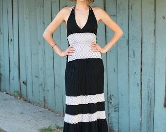 70s Boho Black Maxi Dress- Backless Halter Extra Small XS S