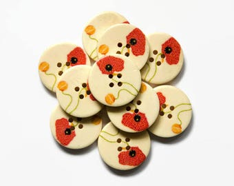5 Poppy Buttons 25mm - Poppies Button - Flower Buttons - 25mm Button Flowers - Sweet Buttons - Large Buttons Flowers - Round Wooden Nature