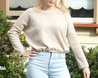 Beige Vintage 70s Crop Sweater