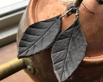 Organic leaf shaped upcycled leather earrings