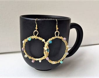 Triple gold tone wire wrapped hoops with multicolored beads