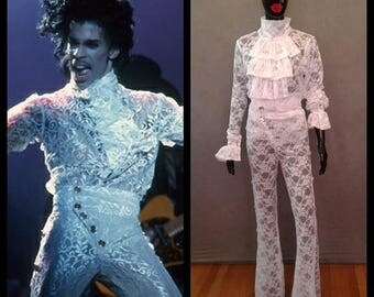 MADE TO ORDER Prince 'When Doves Cry' Inspired All White Lace Costume for Women