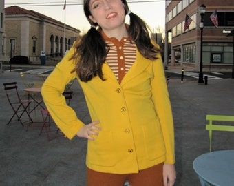 MOD 1970's BUTTE Knit Jacket, Bright Yellow 70s Blazer, size Small