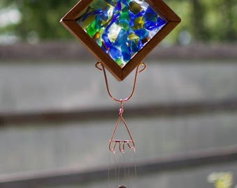 Wind Chime Stained Glass Copper Outdoor Windchime Suncatcher