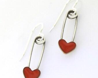 Safety Pin with Heart Earrings, red enameled hearts, sterling silver dangle earrings, enamel jewelry, safety pin earrings