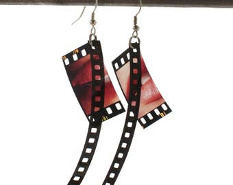 upcycled jewelry - slide earrings, frame & track - unique gift idea - edgy earrings - film jewelry - movie lover earrings