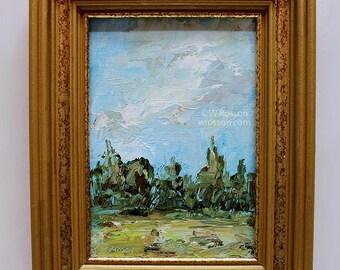 Rescued Gold Frame, Landscape Painting, Small Format Art, Original Art, Home Decor, Office Art, Wall Art, Gift, Winjimir, Trees, Sky, Art