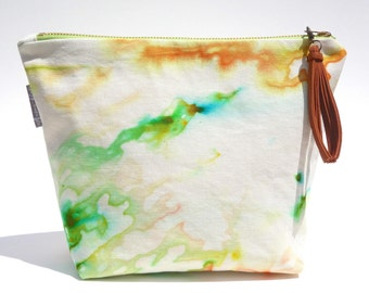 Delano Hand Dyed Large Organic Cotton Cosmetic Makeup Pouch Leather Tassel