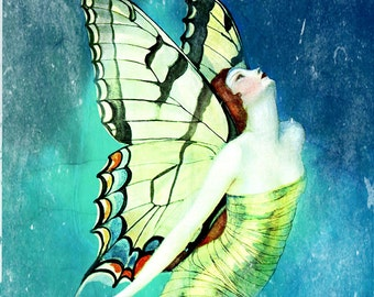 Butterfly Fairy Blank Notecard Instant Digital Download Print-Trim-Ready to Mail Blank Greeting Card Vintage Fantasy Whimsical