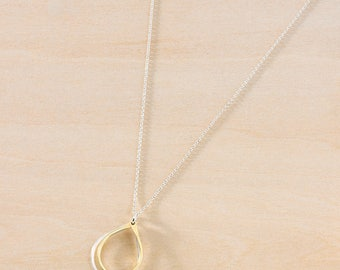 Two Small Rounded Teardrops in Sterling Silver & Gold Filled Stacked on Silver or Gold Chain, Mixed Metal Teardrops, Simple Everyday Jewelry