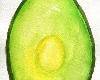 Avocado watercolor painting original, green kitchen wall art, fruit painting 4 x 6, SharonFosterArt