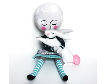 DIY KIT - Moon girl doll and Ruby the Moon Rabbit -  plush dolly
