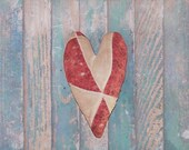 Antique Quilt Heart, Primitive Heart Ornaments Heart Bowl Filler, Farmhouse Style Stuffed Hearts, Red White Black - READY TO SHIP